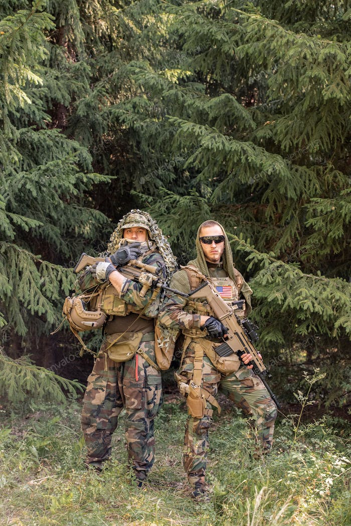 Young soldiers in camouflage
