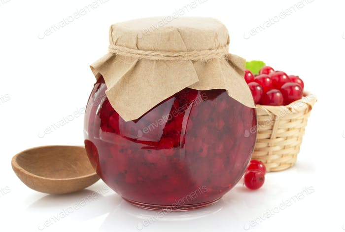 red currant jam on white