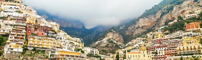 Banner with Positano, Amalfi Coast, Campania, Italy. Beautiful View