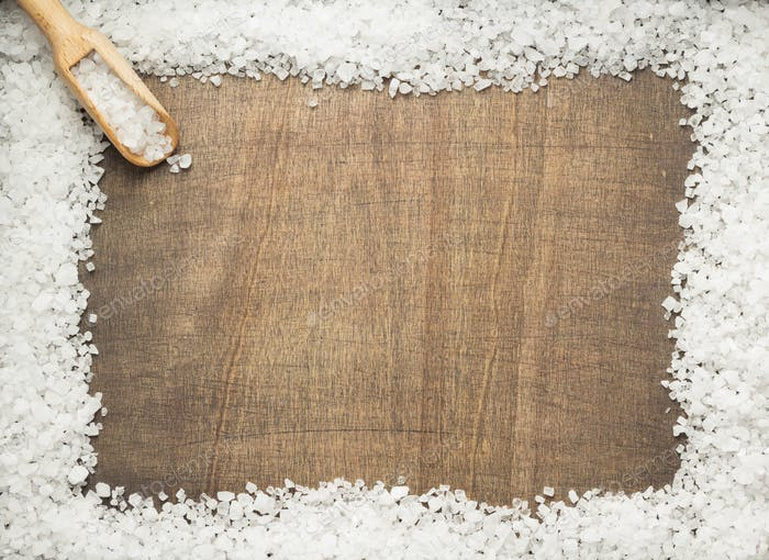 sea salt spice on wooden table