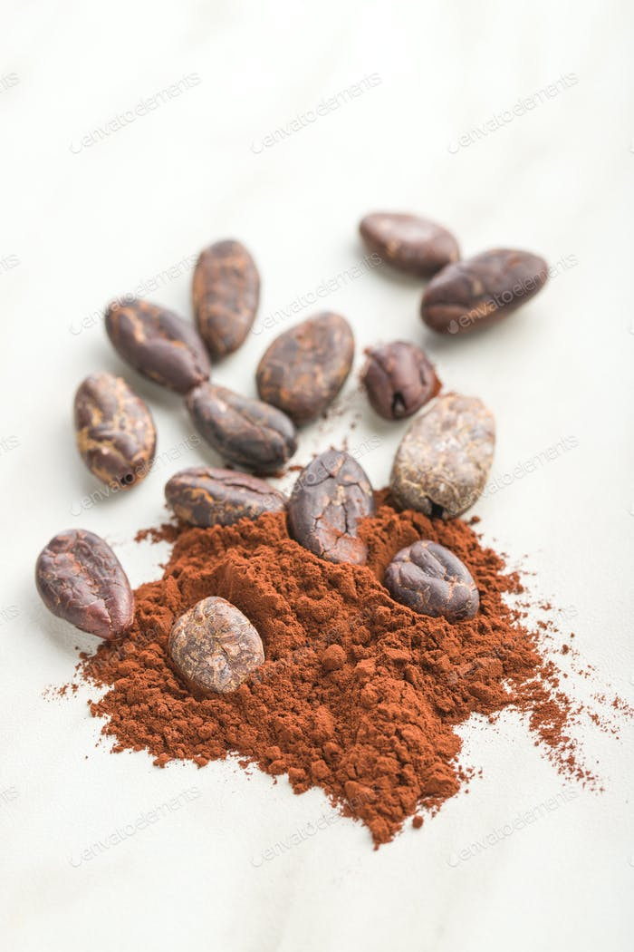 Dark cocoa powder and beans.