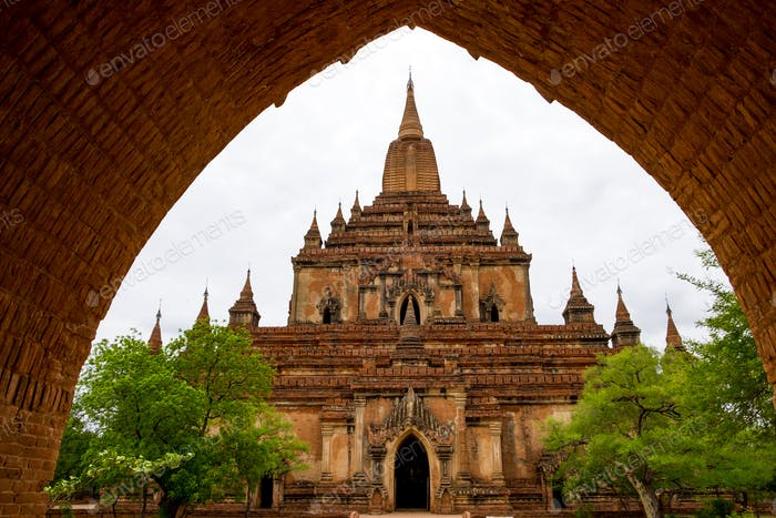 Architectural detail of a temple in Bagan with stone arch