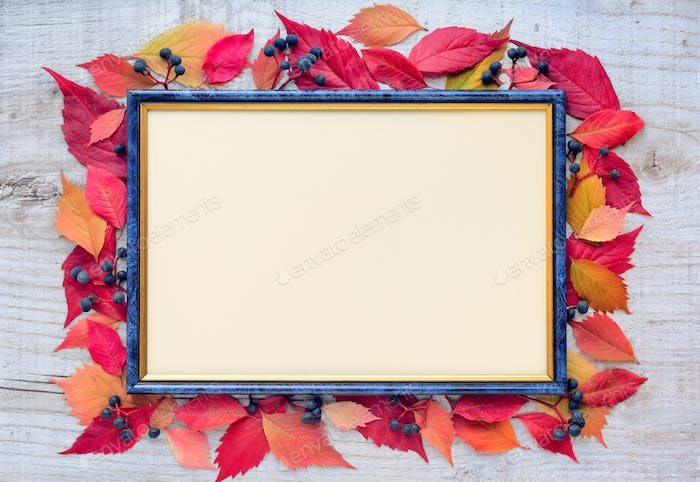 Autumn leaves composition with picture frame on a wooden backgro