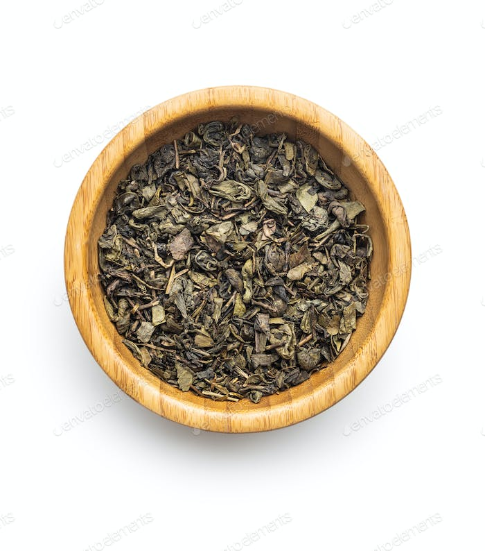 Dried green tea leaves.