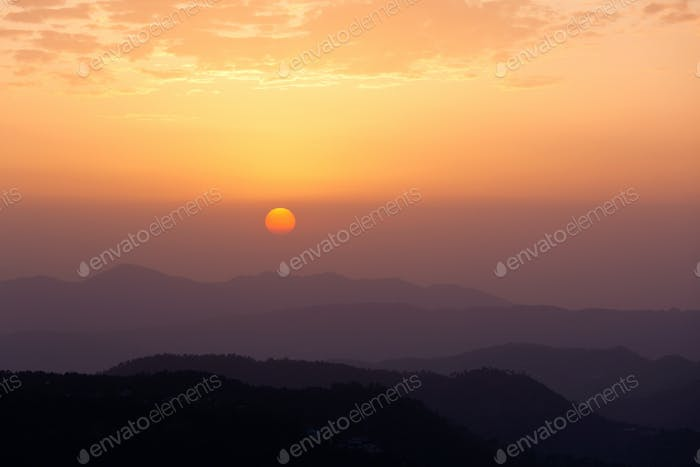 Sunset in hills