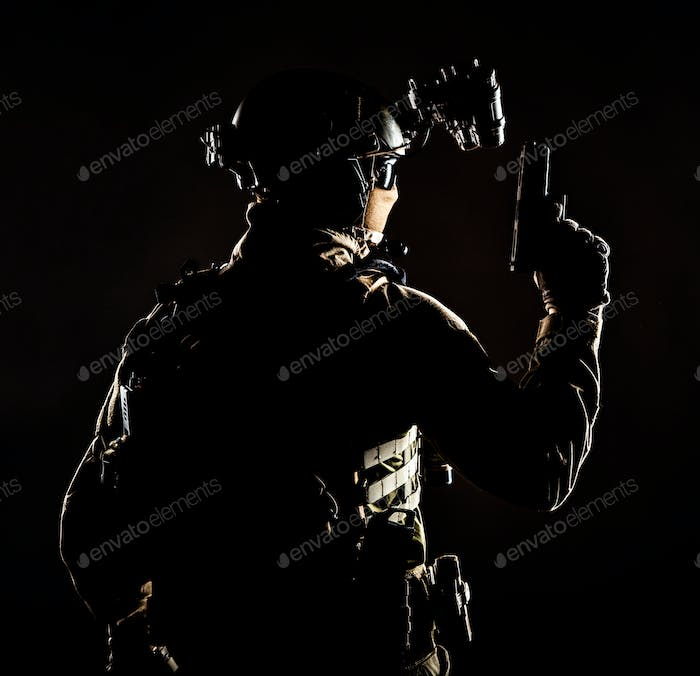 Special forces soldier on secret night operation