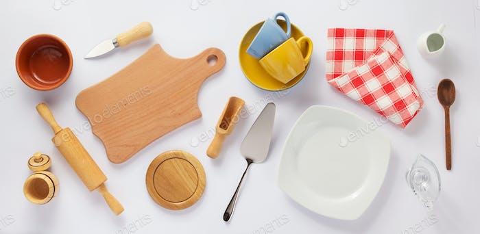 kitchenware set at white background