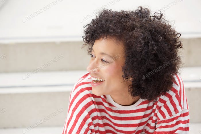 Close up older african american woman laughing