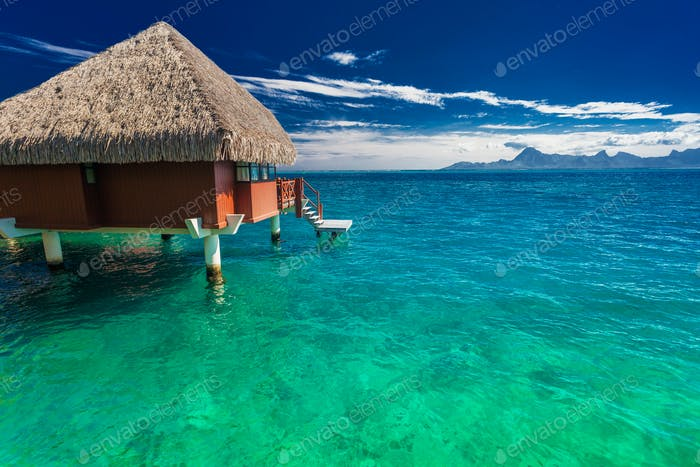 Overwater bungalows with best beach for snorkeling, Tahiti