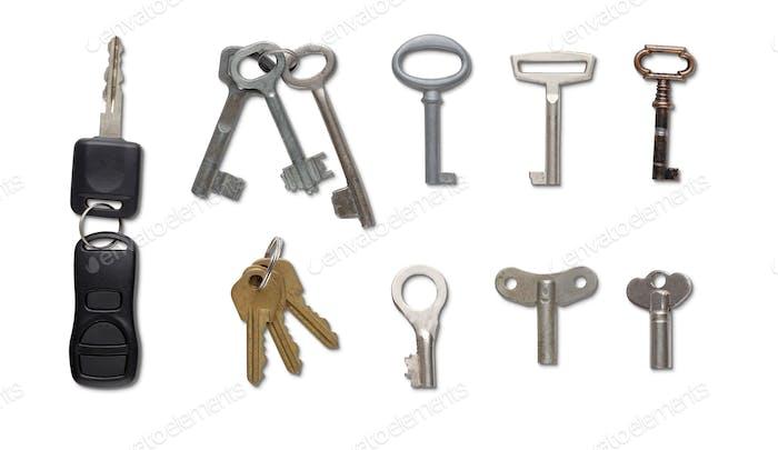 Set of keys isolated at white background