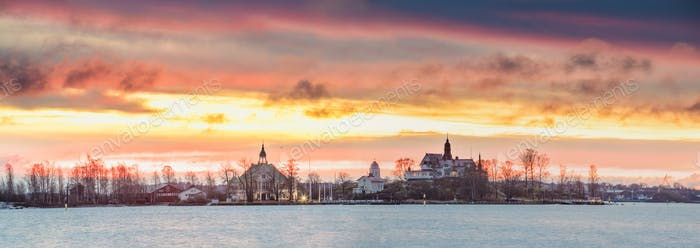 Helsinki, Finland. Panoramic View Of Sunrise Landscape Of Blekho