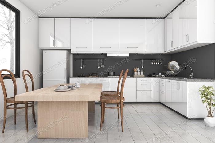 3d rendering black and white modern kitchen near window