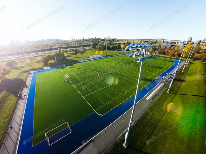 Aerial View of Outdoor Football Field