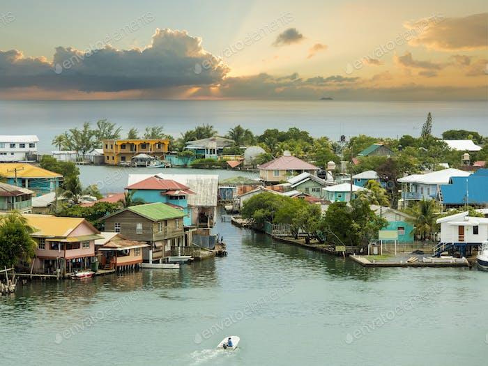 Oak Ridge area of Roatan Island, Honduras at sunrise