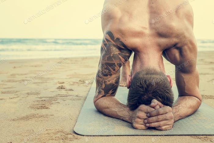 Man Planking Stretching Flex Training Healthy Lifestyle Beach Co