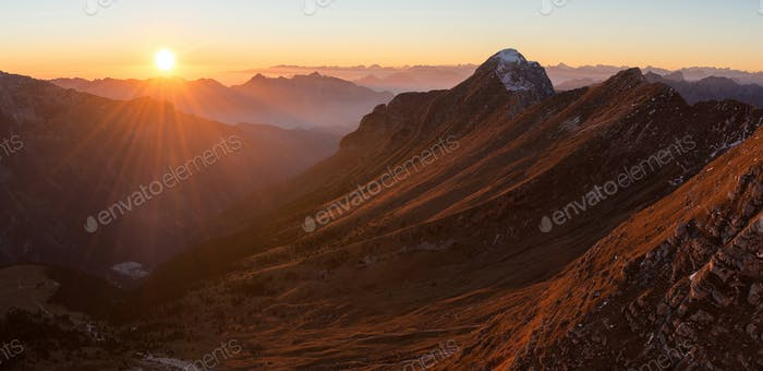 mountains at sunset in the Alps