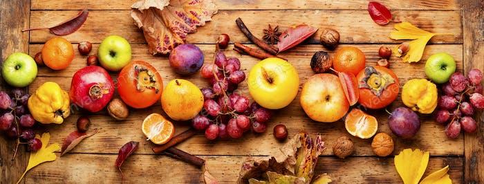 Frische saisonale Früchte im Herbst