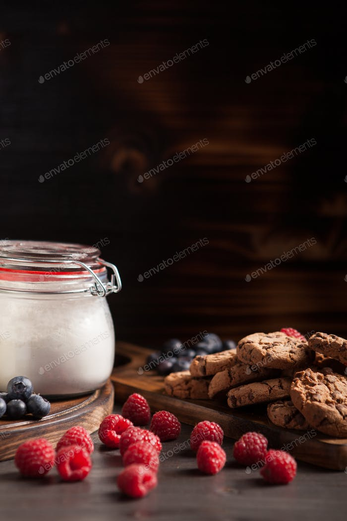 Delicious and tasty cookies for breakfast with milk