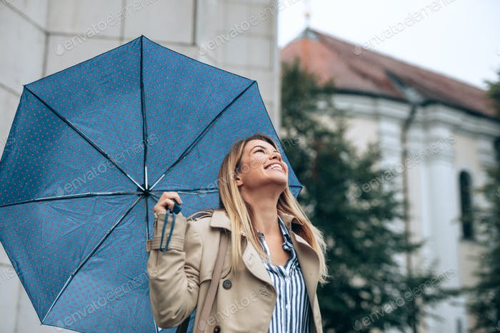 Having a walk on a rain