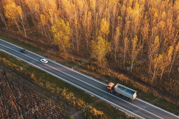 Aerial view of traffic on road through autumnal cottonwood fores