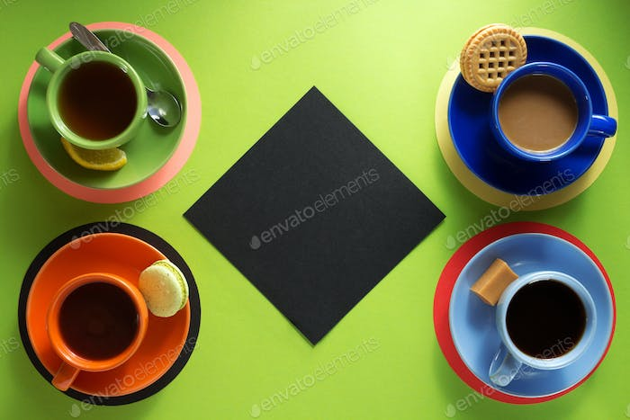 cup of coffee and tea at paper background