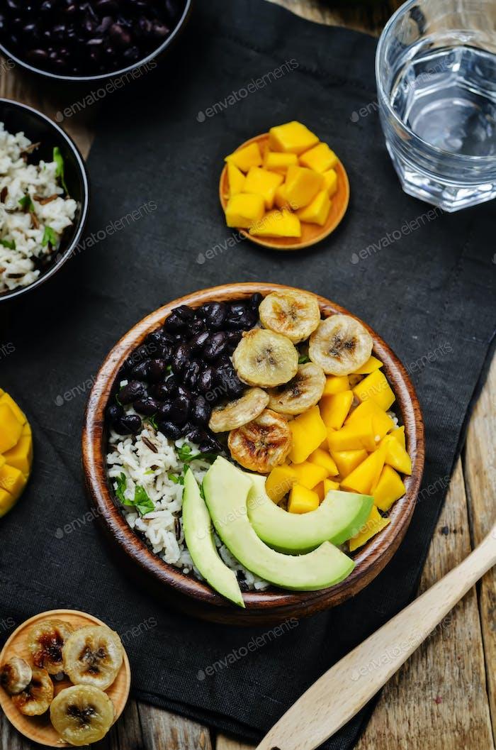 black beans fried banana mango cilantro rice bowl