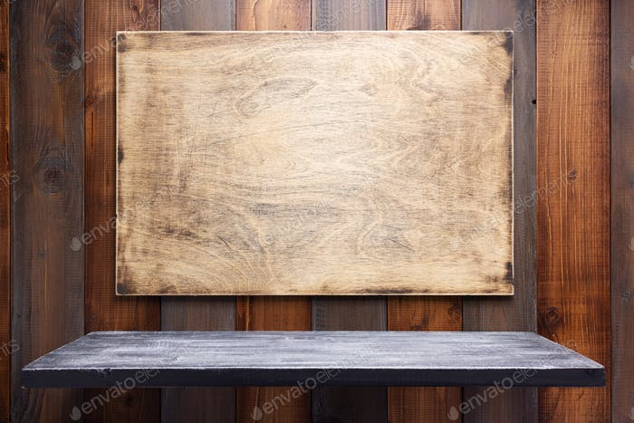 nameplate or wall sign at  wooden background texture