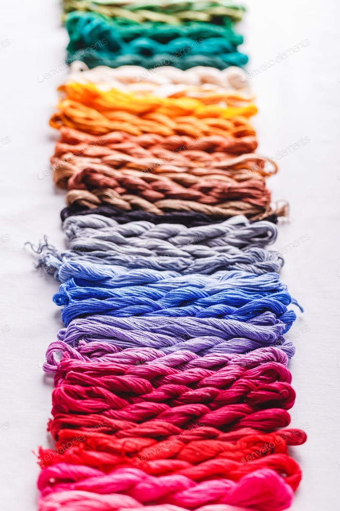 Colorful pattern background from embroidery thread