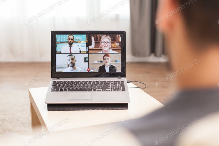 Businessman in a video conference