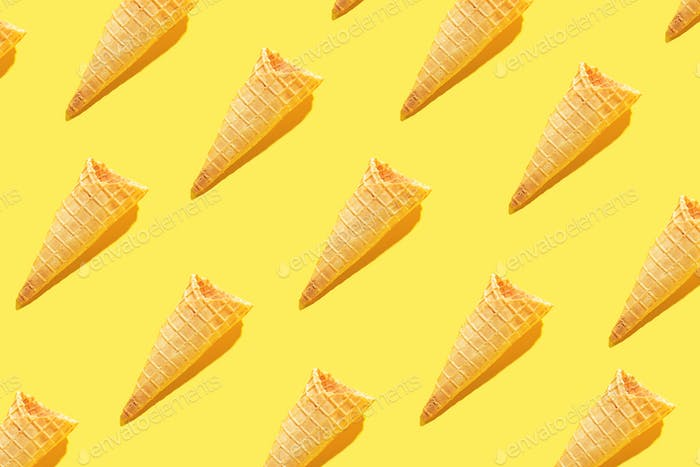 Ice cream waffle cones in food pattern