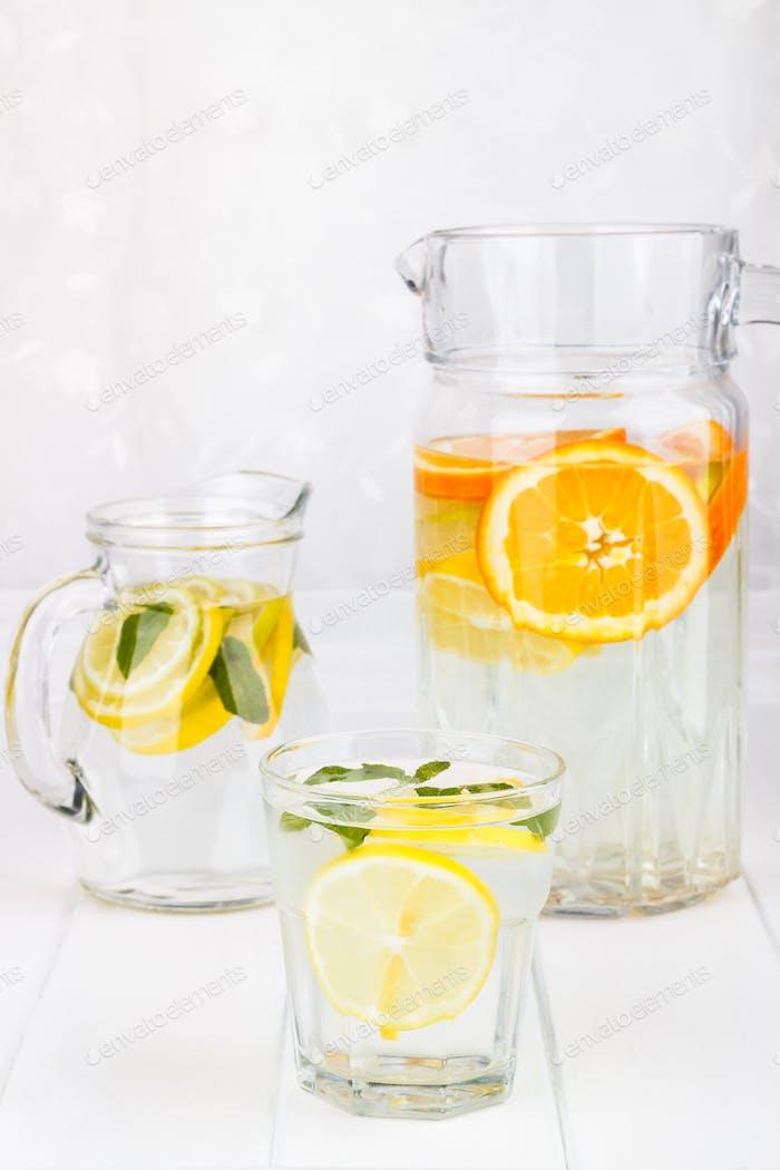 Healthy lemonade from lemon, lime and orange