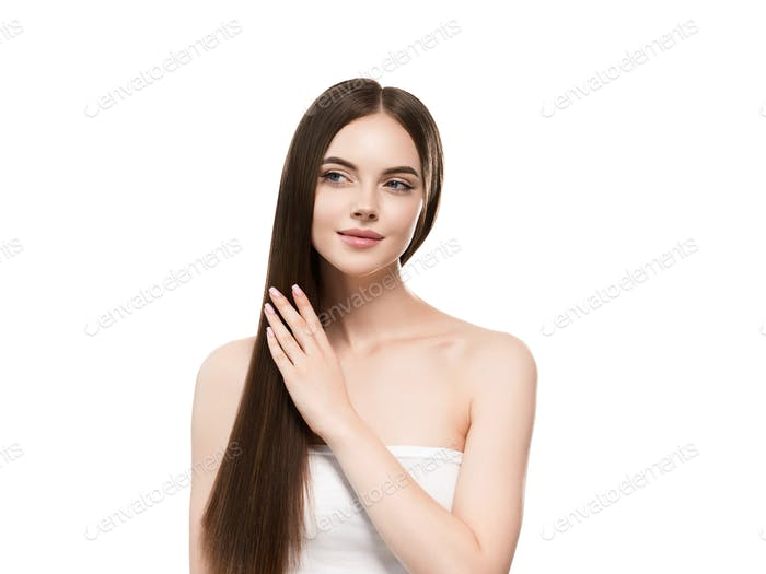 Woman with long smooth hair beautiful hairstyle fashion make up