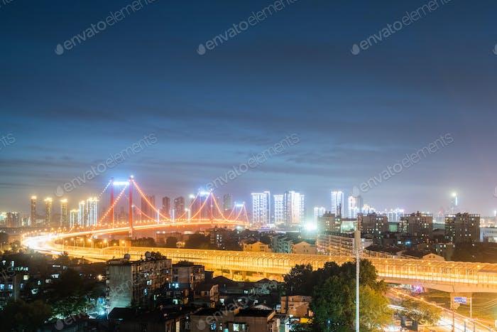 wuhan bridge night scene