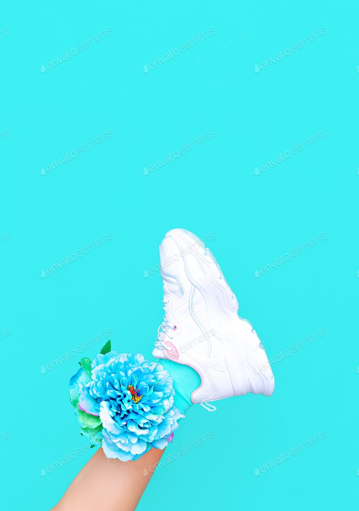 Fashion white shoes. Sneakers. Minimal aesthetic monochrome design. Trendy colours blue