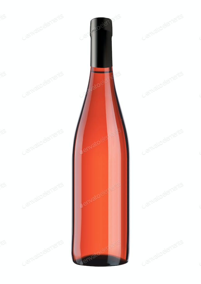 bottle with pink wine isolated on white background