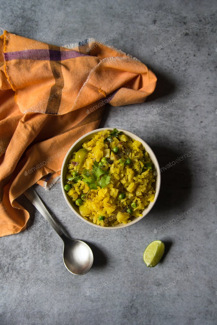 Poha or flattened rice