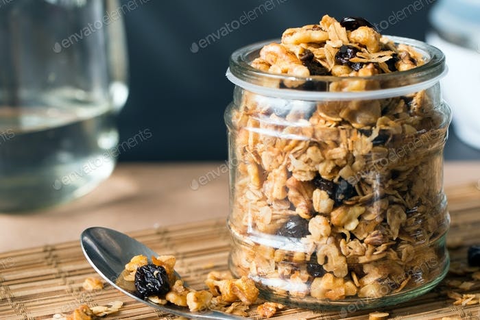 Homemade granola in a glass jar