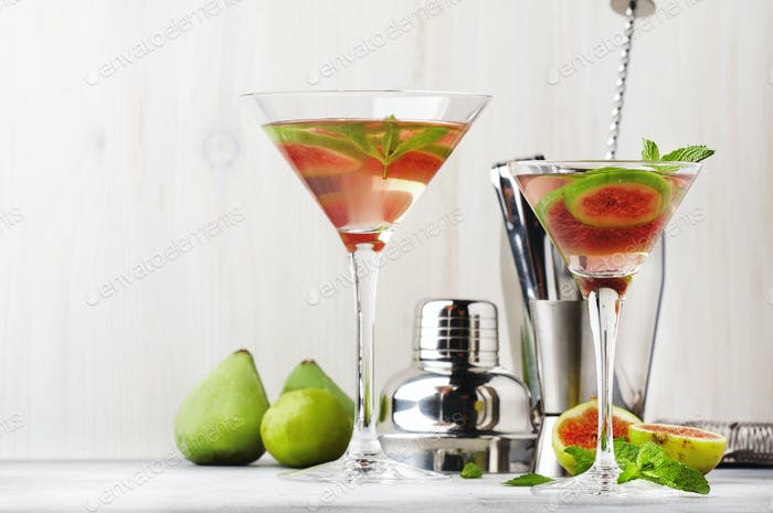 Pink fig martini alcoholic cocktail