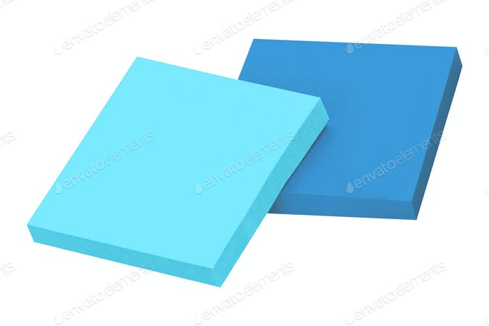 blue sticky notes isolated on white