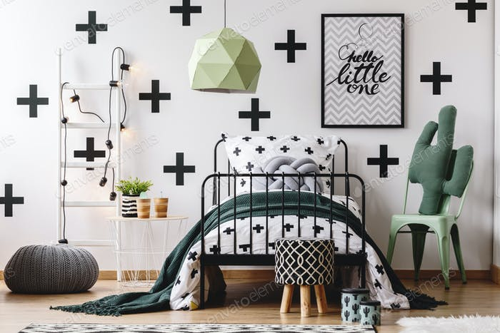 Kid's bedroom with green accents
