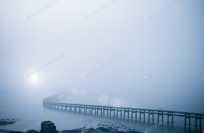 bay bridge in heavy fog