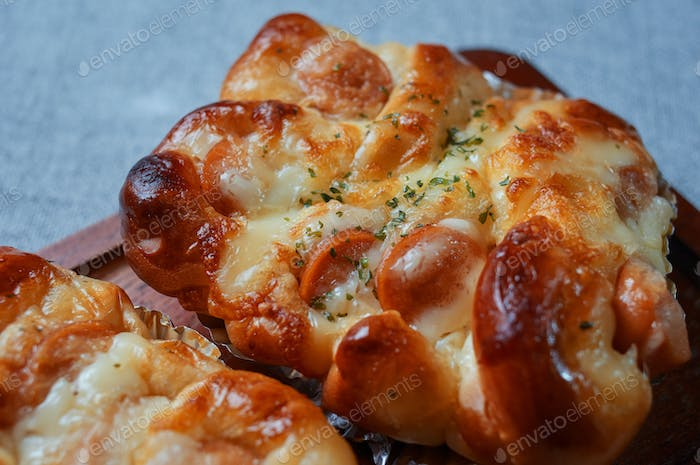 Close-up view of mayonnaise sausage bread