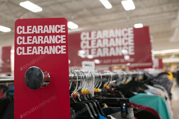 Clearance sale sign in store