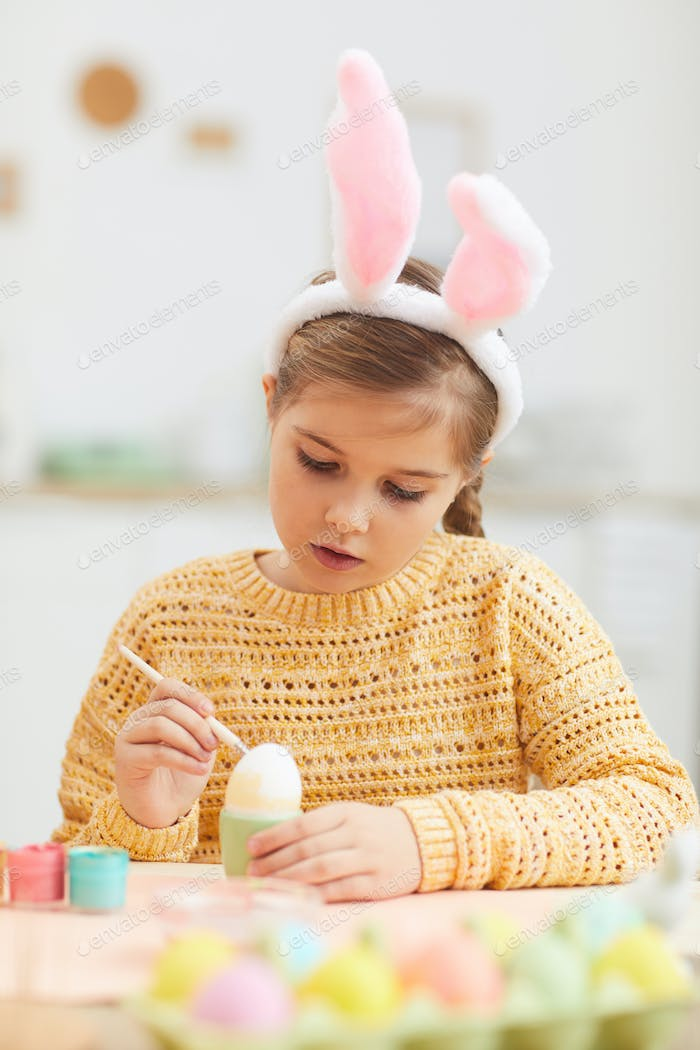 Cute Girl Wearing Bunny Ears on Easter
