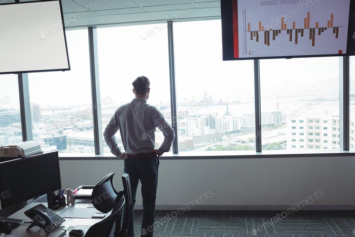 Rear view of businessman standing with hands on hip at office