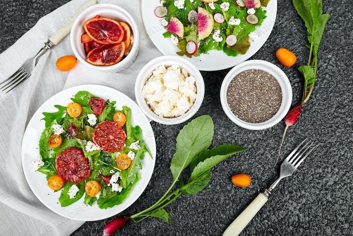 Mix salads. Vegan, vegetarian, clean eating, dieting, food concept.