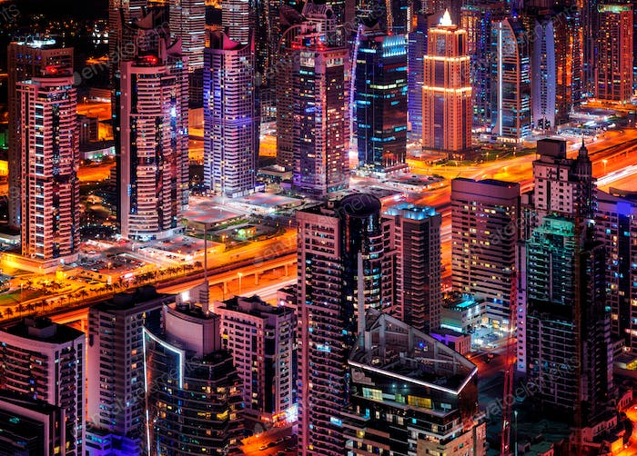Majestic colorful dubai marina skyline during sunset. Dubai marina, United Arab Emirates.
