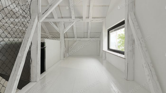 Interior empty barn house 3D rendering