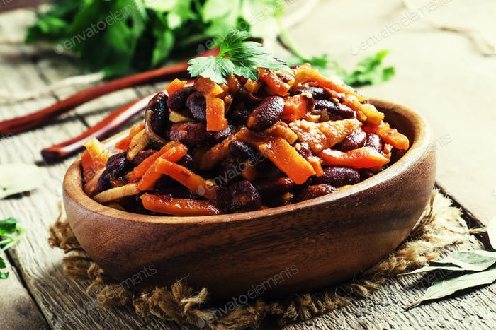 Traditional Georgian lobio from red beans, vegetables and tomato
