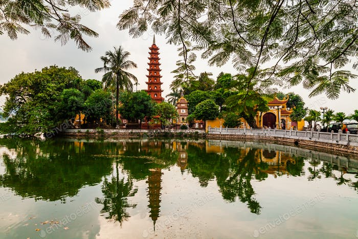 Tran Quoc pagoda in the morning, the oldest temple in Hanoi, Vietnam.